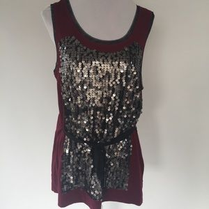 NWT XL SIMPLY VERA SEQUIN FRONT BELTED TANK TOP
